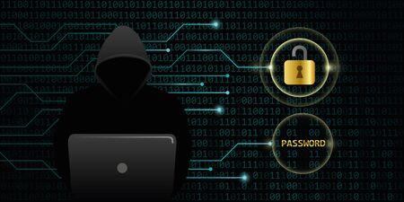 hacker cracks secure digital data password binary code background vector illustration EPS10