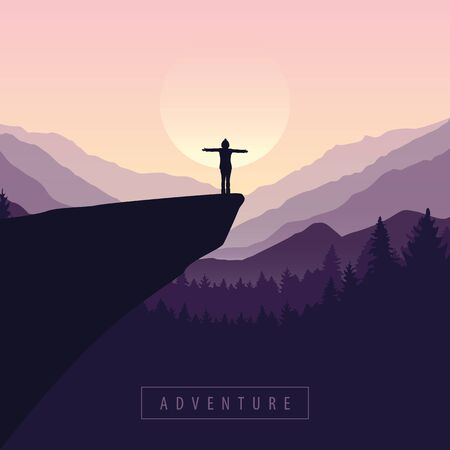 hiking adventure girl on a cliff in at sunrise with mountain view vector illustration EPS10 Ilustracja