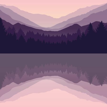 beautiful lake on pine forest and mountain purple nature landscape vector illustration EPS10