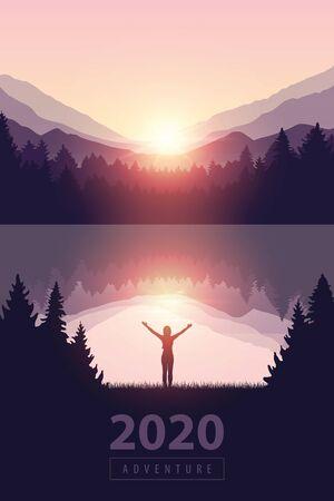 ragazza con le braccia alzate in riva al lago all'alba natura paesaggio illustrazione vettoriale EPS10