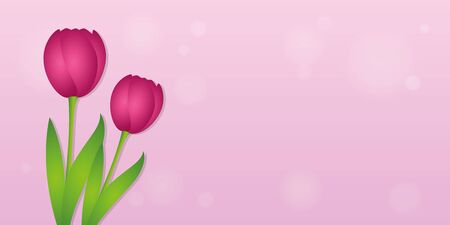 bright pink card with pink tulips spring background vector illustration EPS10 Ilustracja