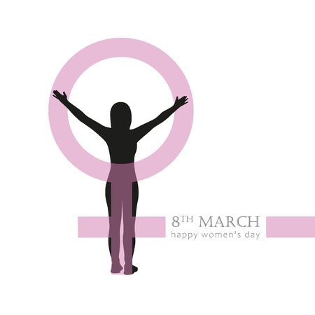 8th march international womens day girl and female symbol vector illustration Ilustracja