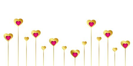 gold and pink heart border on white background vector illustration