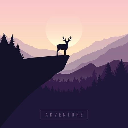 wildlife adventure elk in the wilderness at sunset on a cliff vector illustration Reklamní fotografie - 136422105
