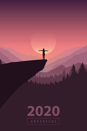 hiking adventure 2020 girl on a cliff in at sunrise with mountain view vector illustration Ilustração