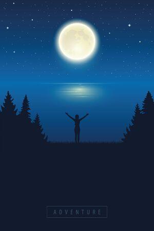 girl with raised arm enjoy the full moon by lake vector illustration EPS10 Ilustracja