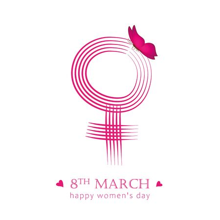 8th march international womans day pink female symbol with butterfly vector illustration EPS10