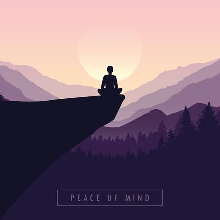 peace of mind mediating person on a cliff with mountain view purple nature landscape vector illustration