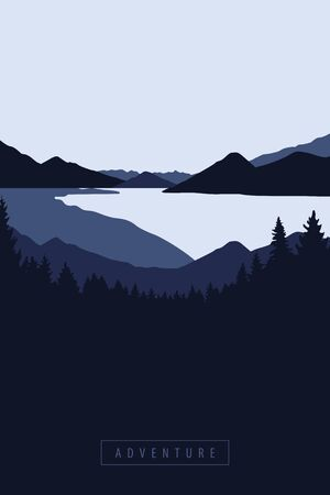 nature adventure big river forest and mountain view vector illustration EPS10 Reklamní fotografie - 136041324