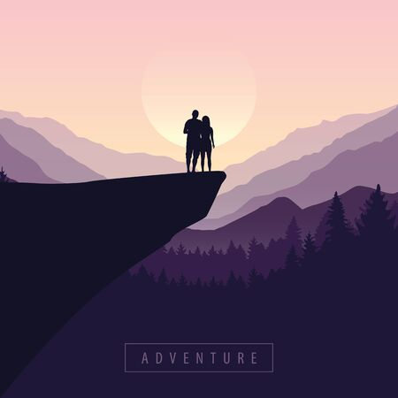 couple on a cliff adventure in nature with purple mountain view vector illustration