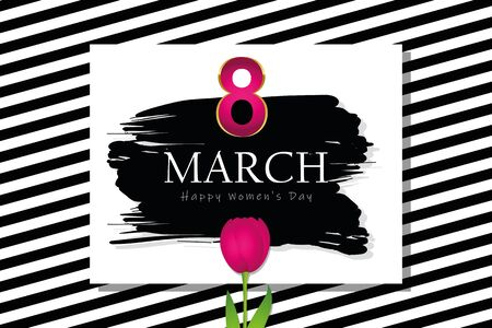 black and white striped card with pink tulip for womens day vector illustration EPS10