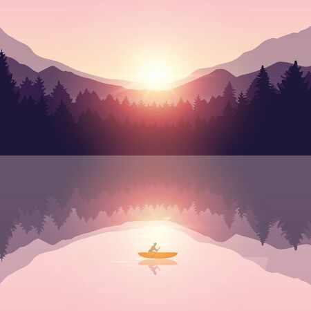 lonely canoeing adventure with orange boat at sunrise on the lake vector illustration EPS10 Reklamní fotografie - 136387195