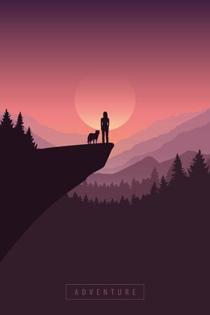 girl and dog on a cliff with mountain view at sunrise nature landscape vector illustration