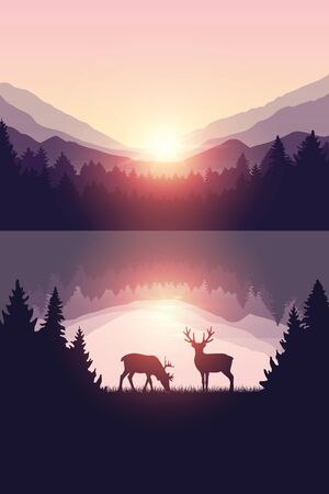 two reindeers by the lake at sunrise wildlife nature landscape vector illustration