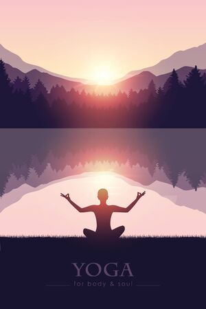 yoga for body and soul meditating person silhouette by the lake with mountain landscape vector illustration EPS10 Reklamní fotografie - 136432881