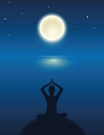 yoga meditating person silhouette by the ocean with full moon and starry sky vector illustration EPS10 Reklamní fotografie - 136432915
