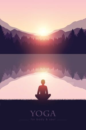 yoga for body and soul meditating person silhouette by the lake with mountain landscape vector illustration EPS10 Reklamní fotografie - 136433721