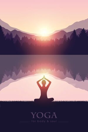 yoga for body and soul meditating person silhouette by the lake with mountain landscape vector illustration EPS10 Reklamní fotografie - 136627454