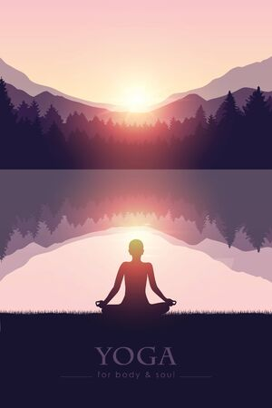 yoga for body and soul meditating person silhouette by the lake with mountain landscape vector illustration EPS10 Ilustracja