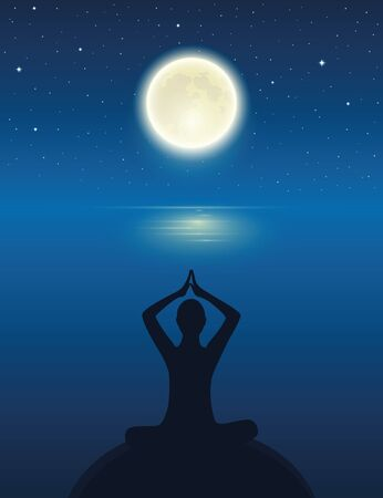 yoga meditating person silhouette by the ocean with full moon and starry sky vector illustration EPS10 Reklamní fotografie - 136627425