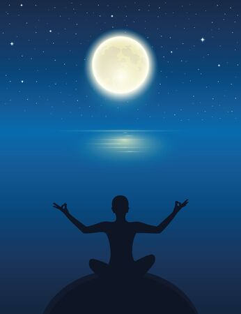 yoga meditating person silhouette by the ocean with full moon and starry sky vector illustration EPS10
