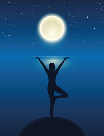 yoga meditating person silhouette by the ocean with full moon and starry sky vector illustration EPS10 Reklamní fotografie - 136627619