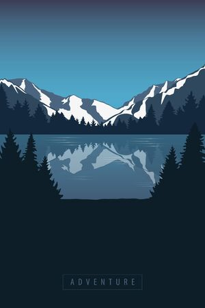 adventure in the mountains by the lake in the wilderness landscape vector illustration EPS10
