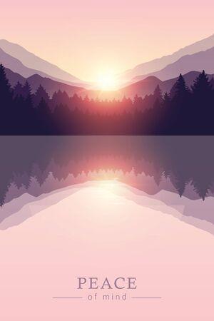 beautiful sunrise by peaceful lake on mountain purple nature landscape vector illustration EPS10 Ilustracja