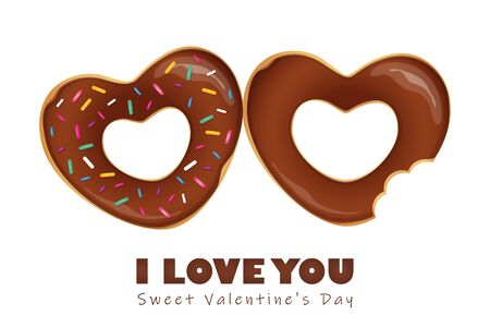 sweet valentines day with chocolate donuts and lollipop vector illustration EPS10 Reklamní fotografie - 136757070