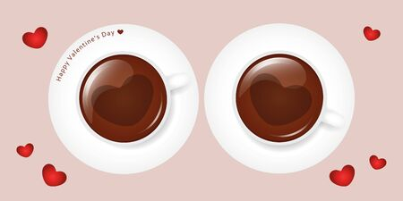 two cups of coffee with heart for valentines day vector illustration EPS10