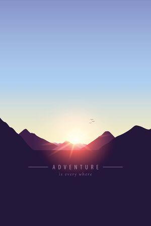 adventure mountain landscape background at sunset vector illustration EPS10 Reklamní fotografie - 136828265