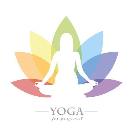 Yoga for pregnant women colorful lotus flower Ilustrace