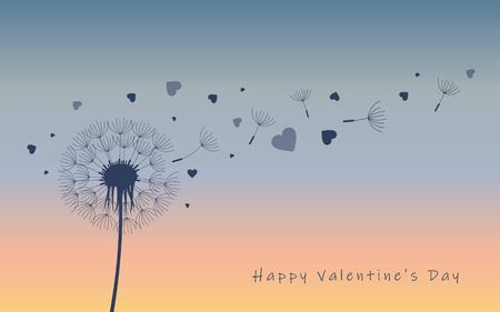 Dandelion silhouette with flying seeds and hearts for valentines day