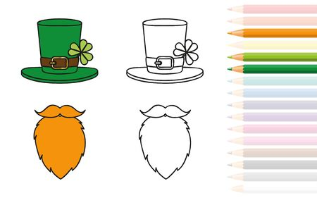 Leprechaun red beard and hat with clover coloring book and pencils