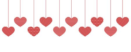 Red pattern hanging hearts on white Ilustrace