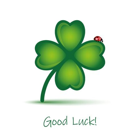 good luck clover leaf with ladybug on white background vector illustration EPS10