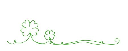 four leaf lucky clover calligraphic border isolated on white background vector illustration EPS10