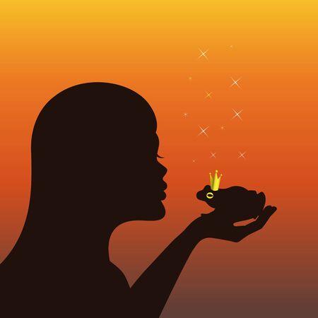 young woman kisses a magic frog prince vector illustration EPS10 Ilustracja