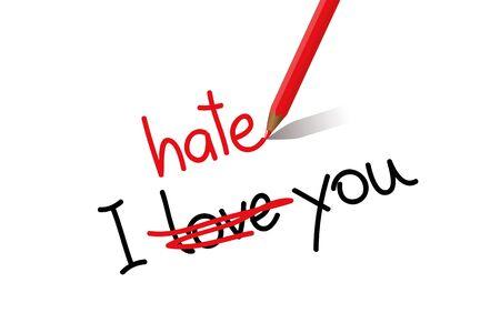 I hate love you typography vector illustration EPS10 Ilustração