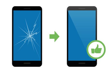 mobile phone repair service broken and repaired display vector illustration EPS10 Ilustrace