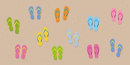 many colorful flip flops on sandy beach vector illustration EPS10