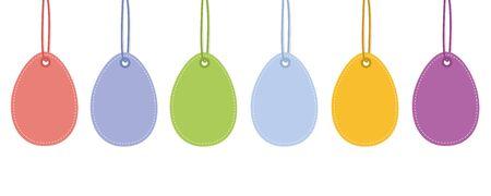 colorful hanging easter eggs isolated on white background vector illustration EPS10 Ilustracja