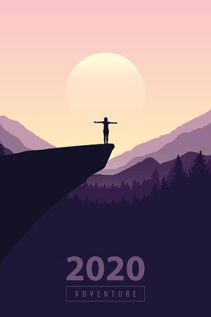 hiking adventure 2020 girl on a cliff in at sunrise with mountain view vector illustration EPS10
