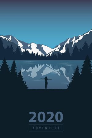 2020 adventure girl in the mountains by the lake in the wilderness landscape vector illustration EPS10 Ilustracja