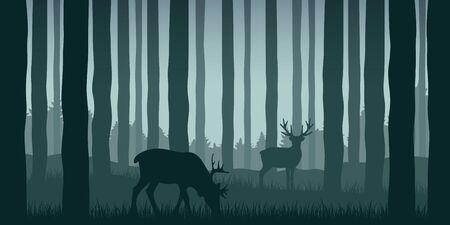 wildlife elk in green forest nature landscape vector illustration EPS10