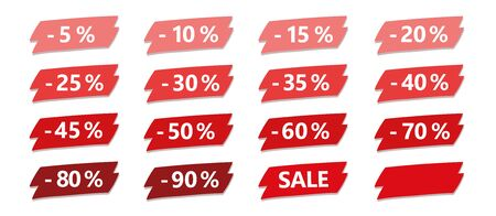 set of red discount sale label isolated on white vector illustration EPS10