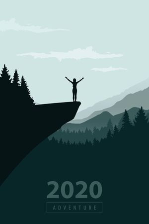 hiking adventure 2020 girl on a cliff with mountain view vector illustration EPS10