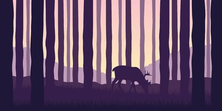 elk grazes in the forest wildlife nature landscape vector illustration EPS10