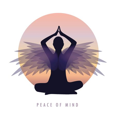peace of mind person in meditation pose with wings vector illustration Vektorové ilustrace