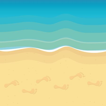 footprints on the beach summer holiday background vector illustration